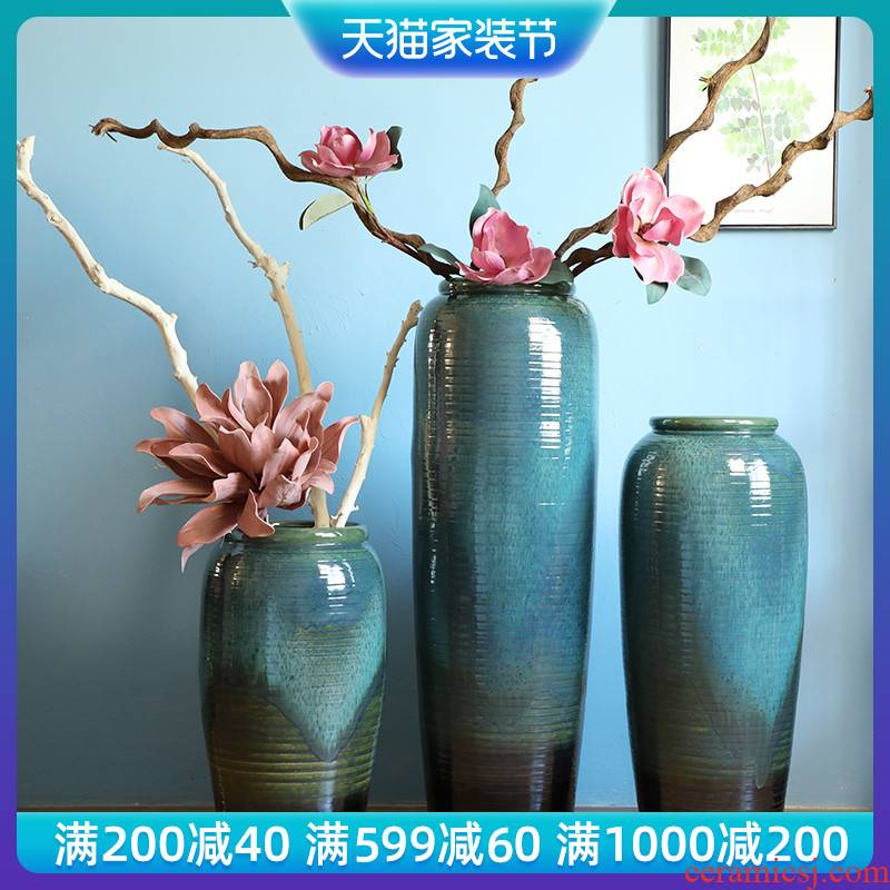 Jingdezhen porcelain ceramic vase contracted and I sitting room, dining - room of Europe type TV ark, large - sized ground flower arranging furnishing articles