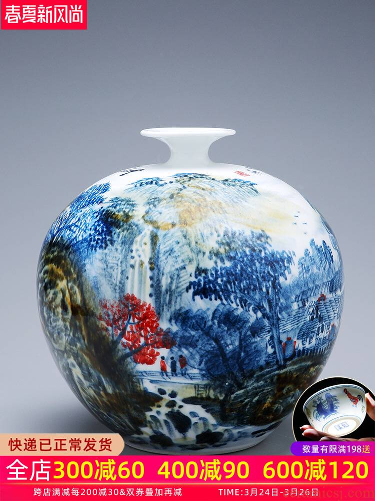 Jingdezhen porcelain vases, pottery and porcelain large hand - made flower arranging new Chinese style living room TV ark, home furnishing articles