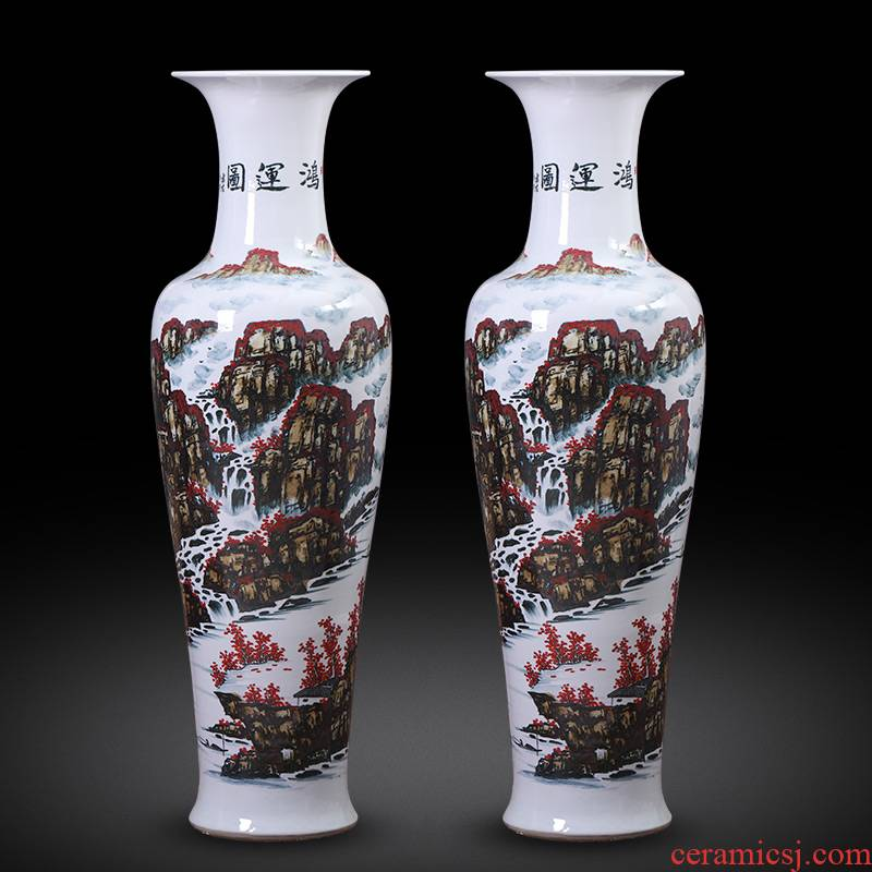 Jingdezhen ceramics hand - made bonanza figure of large vases, new Chinese style hotel furnishing articles housewarming gift ornament