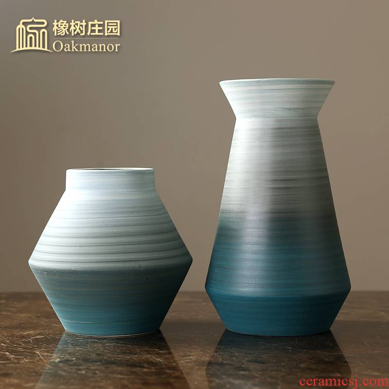 Nordic morandi, ceramic vases, furnishing articles living room table dry flower vase manual drawing flower implement creative decoration