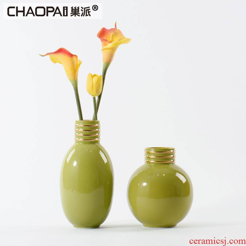 The Rural style style green ceramic flower vases furnishing articles I and contracted sitting room TV cabinet dry flower ornaments