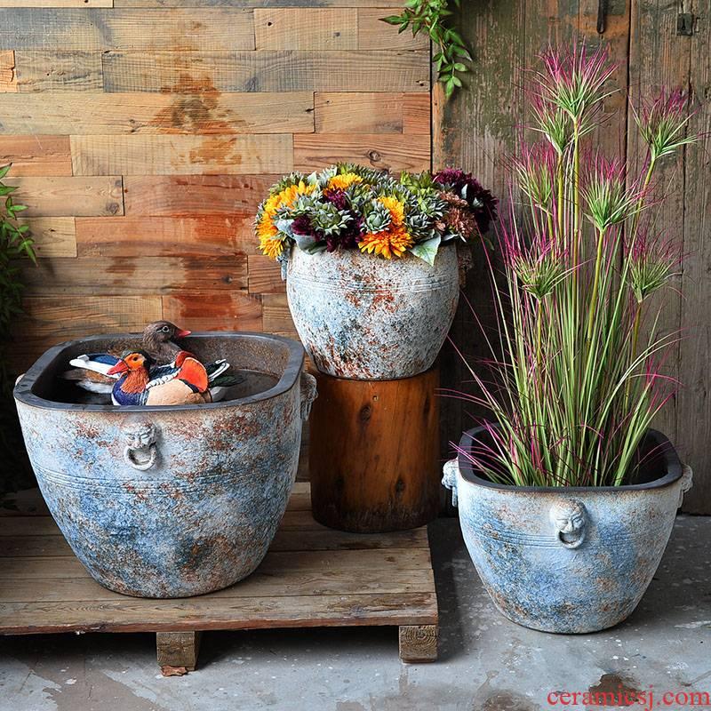 Heavy jingdezhen ceramic aquarium fish basin to the tortoise lotus lotus flower pot cylinder courtyard landscape water tanks furnishing articles