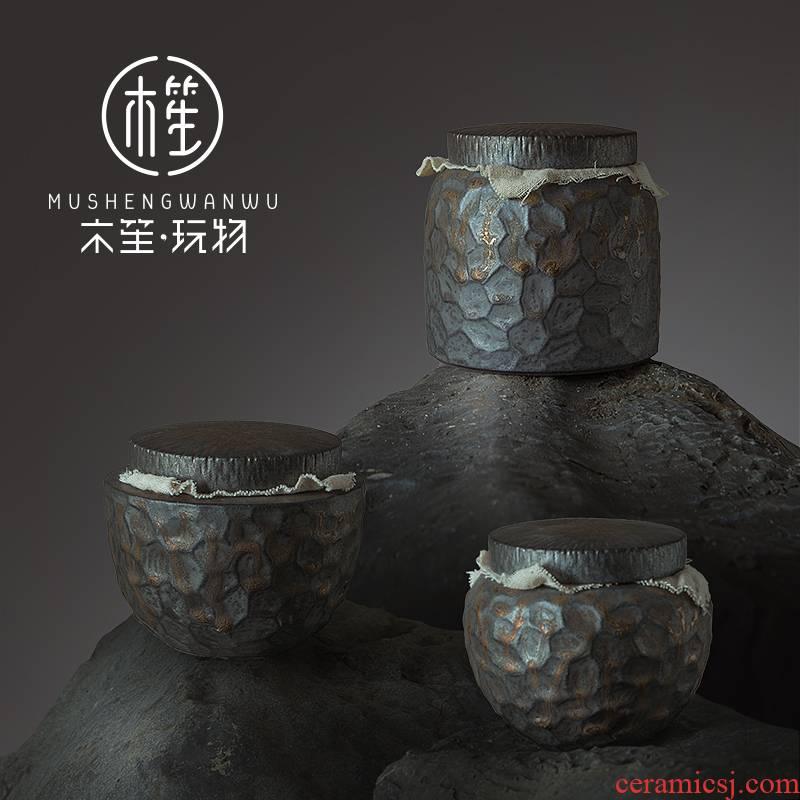 Creative ceramic tea pot home move Japanese hammer kitchen food storage tanks seal pot pu - erh tea POTS