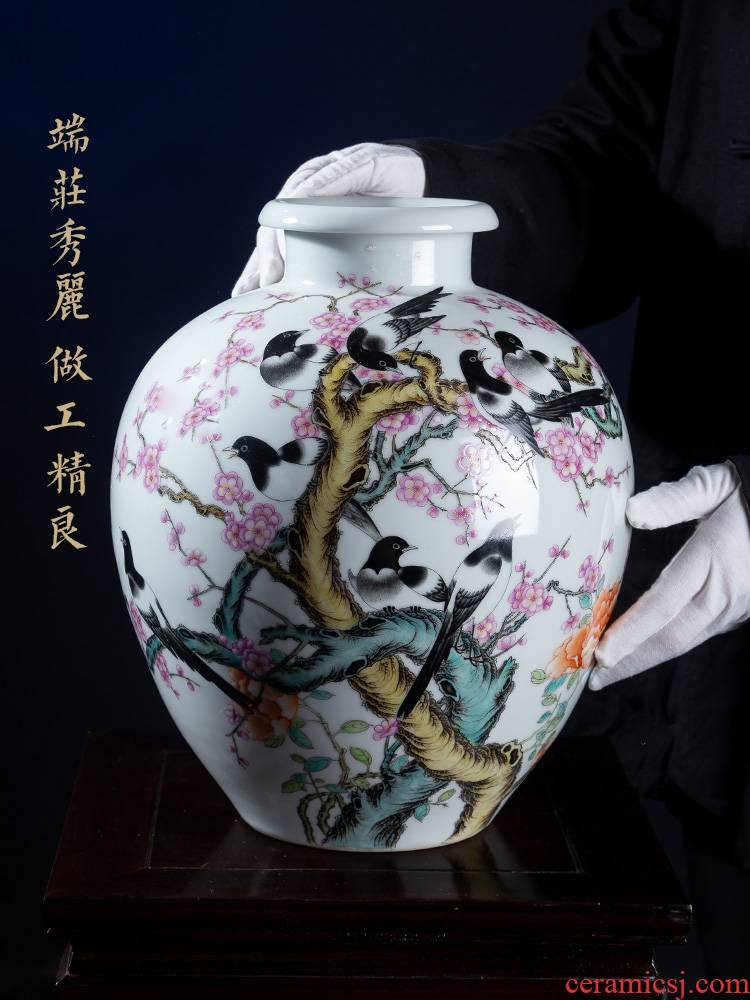 Jia lage jingdezhen furnishing articles YangShiQi hand - made porcelain and pastel pay-per-tweet make MeiWen bottle ceramic vase