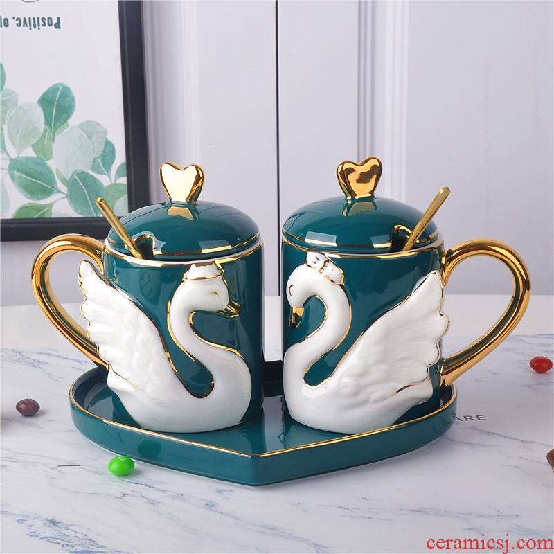 Jingdezhen ceramic cups porcelain cup couples for a cup of tea cup with mixing spoon set a wedding gift
