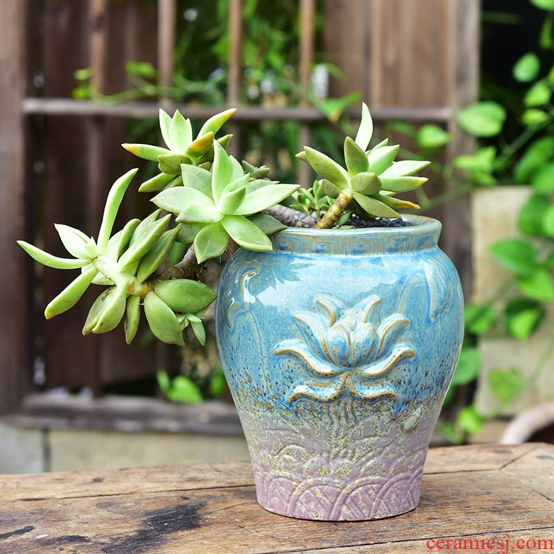 Extra large green plant fleshy flowerpot ceramic creative mage old running of household move flesh of large diameter thick pot plant