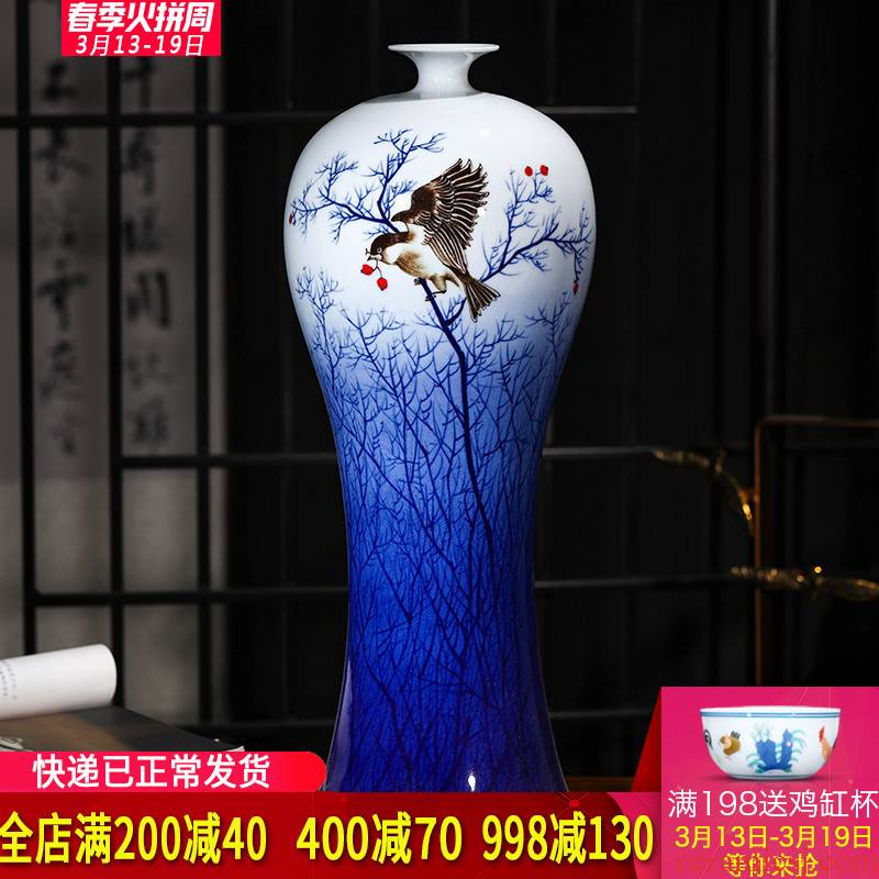 The Master of jingdezhen ceramics hand - made antique Chinese blue and white porcelain vase home furnishing articles large living room