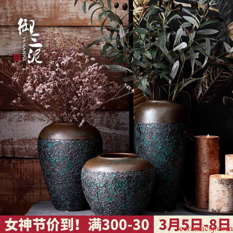 Restore ancient ways the Nordic vases, I and contracted ceramic flower arrangement sitting room furnishing articles furnishing articles coarse some ceramic pot dry flower decoration