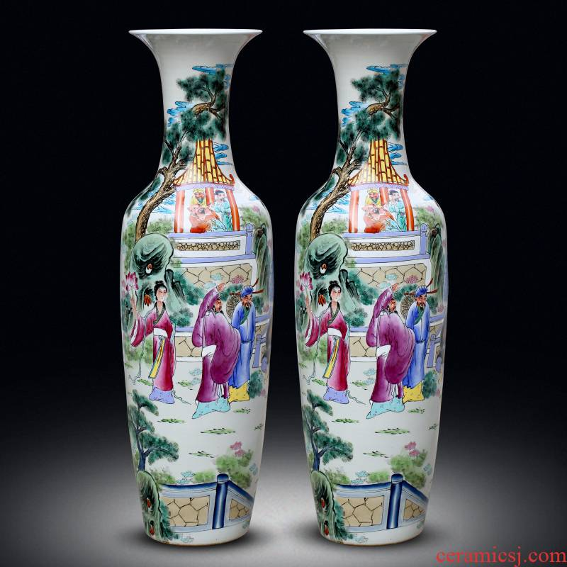 Jingdezhen ceramics hand - made pastel the eight immortals at large figure sitting room of large vases, the hotel Chinese style household furnishing articles