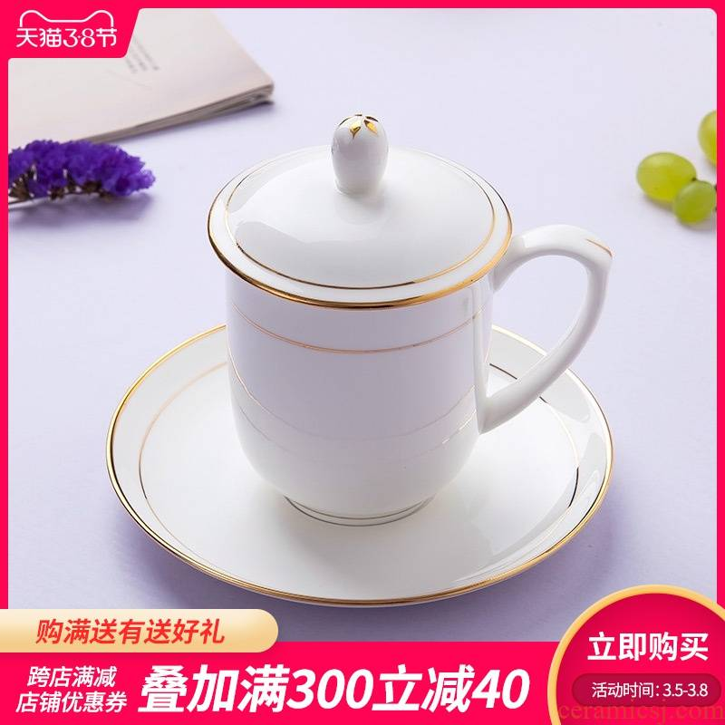 Jingdezhen ceramic cup with a lid hand - made up phnom penh ipads porcelain cup cup suit working meeting of the custom LOGO