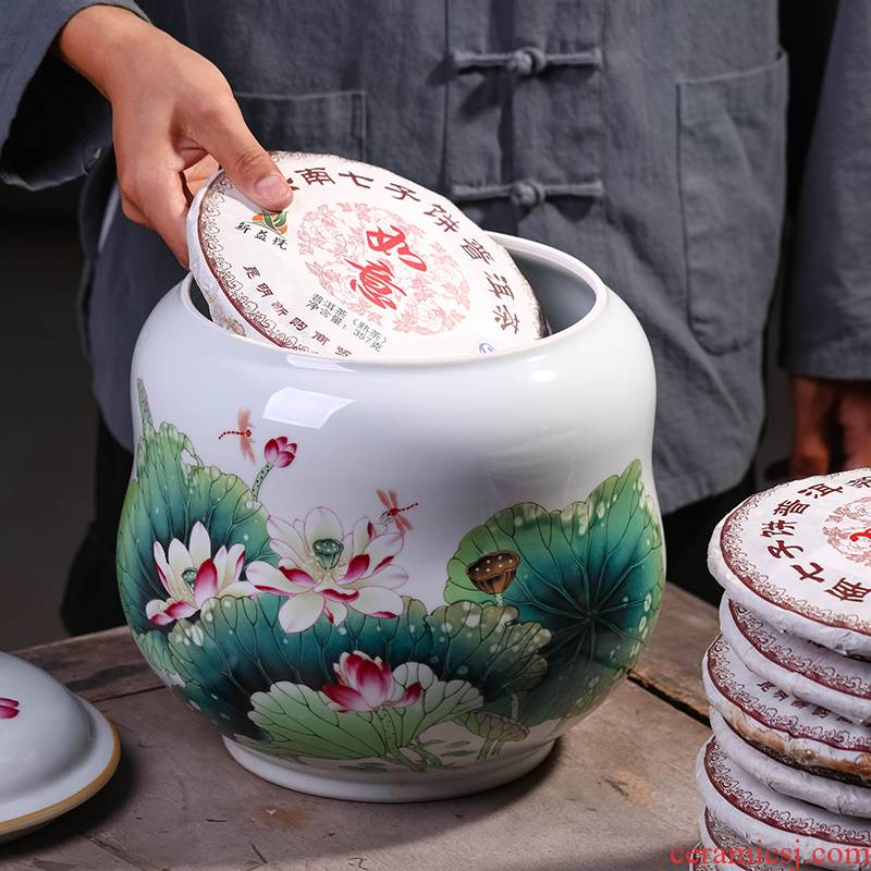 Jingdezhen ceramic seal pot pu 'er tea cake large receives the eighth cake gift porcelain tea pot