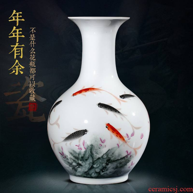 Jingdezhen ceramic vase furnishing articles sitting room flower arranging hand - made famille rose year by year than Chinese porcelain home decoration