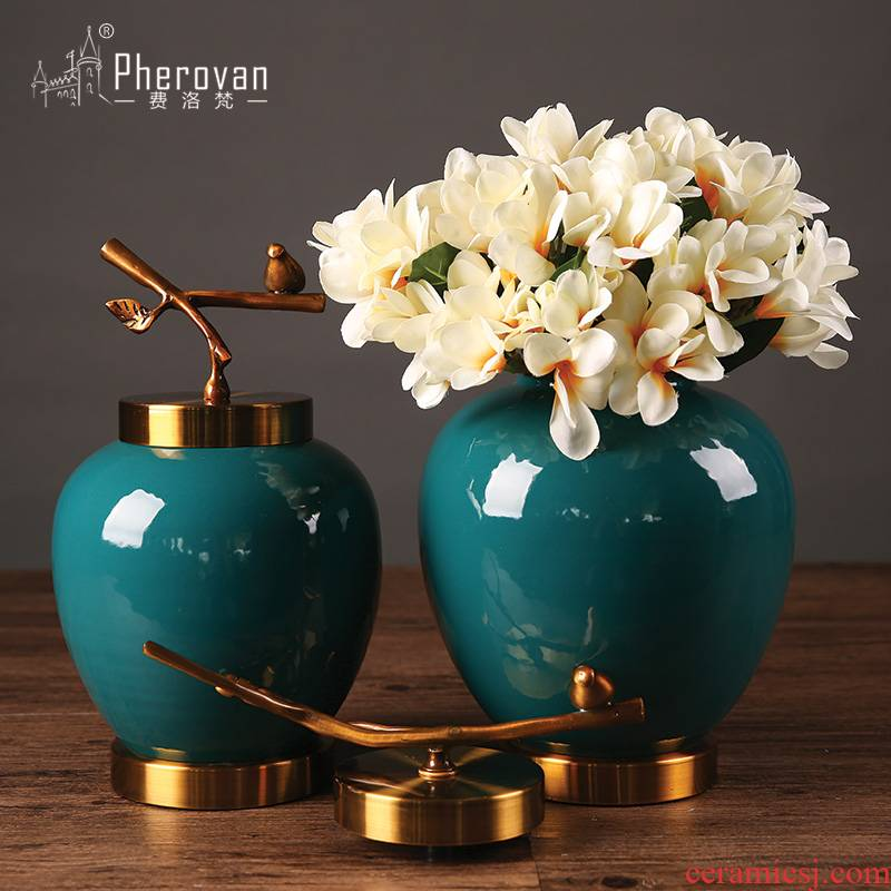 New sitting room of Chinese style household ceramic vase simulation flower set of adornment is placed American porch table vase decoration