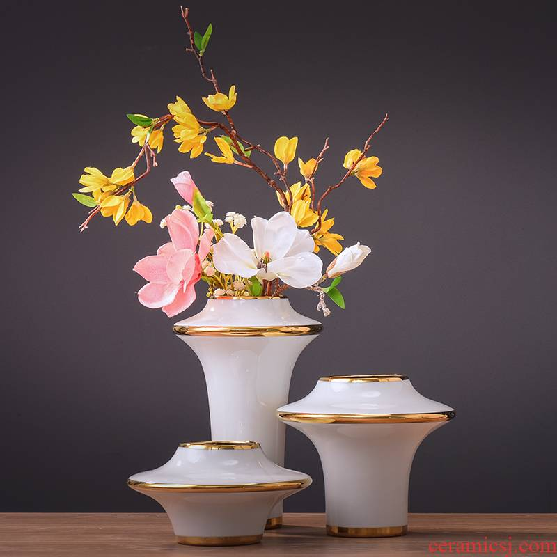 Jingdezhen gold - plated flying saucer ceramic vases, dried flowers, flower arrangement of new Chinese style household decorative furnishing articles of I and contracted