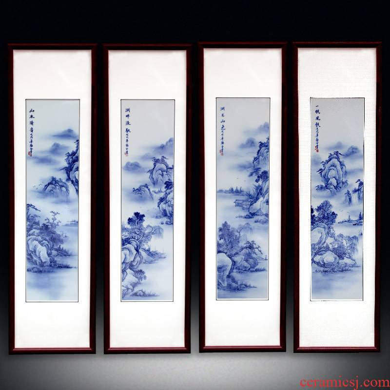 Jingdezhen ceramic blue and white porcelain plate painting landscapes painting hand - made four screen adornment home sitting room background wall hangs a picture