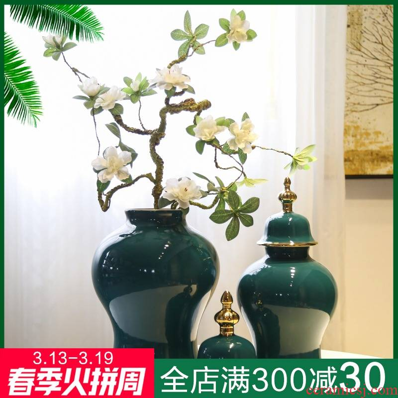 Jingdezhen ceramic general tank furnishing articles between example American new Chinese vases, flower implement the sitting room porch table decoration