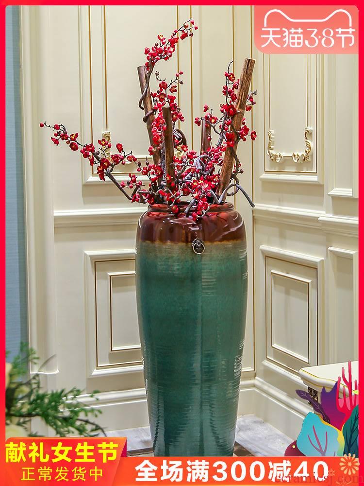 Jingdezhen ceramic large vases, new Chinese style hotel sitting room simulation flower flower arranging furnishing articles club villa decoration decoration
