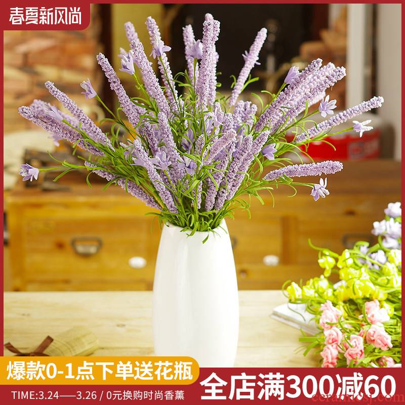 Simulation flower lavender white ceramic vase suit of rural small and pure and fresh household adornment TV ark place flower art