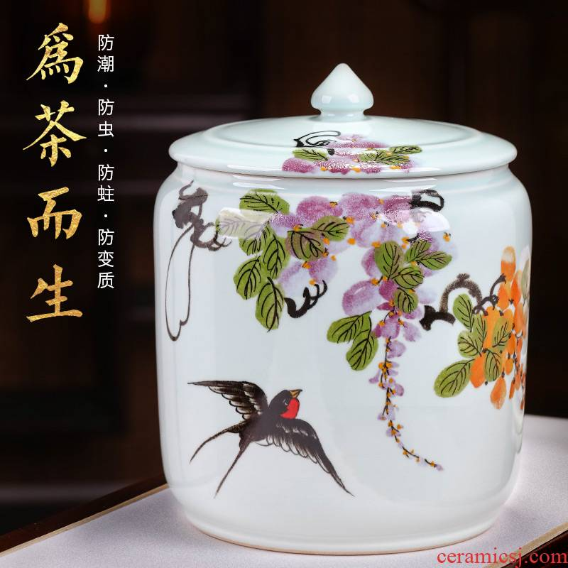 Jingdezhen ceramic barrel hand - made home with cover 15 pounds 25 kg pack insect - resistant seal cylinder storage tank tea