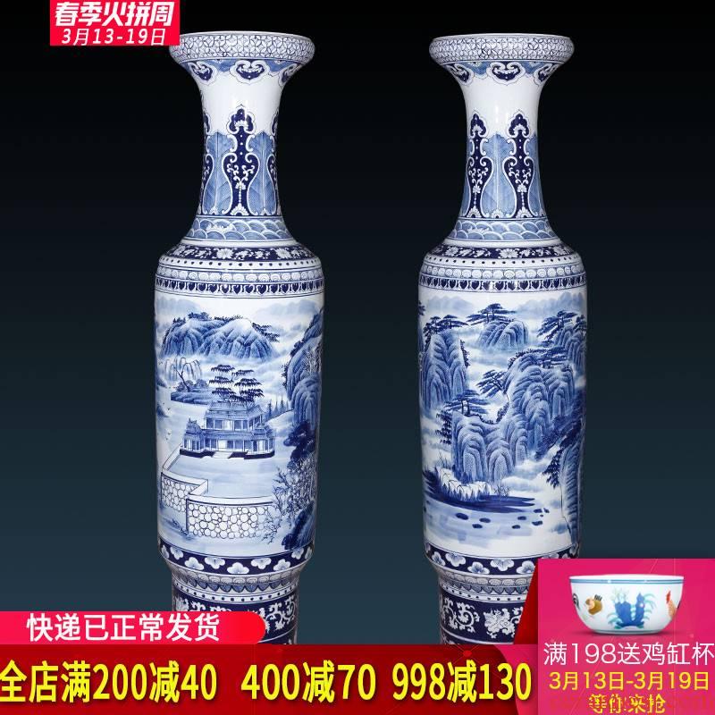 Jingdezhen ceramics hand - made antique landscape of large blue and white porcelain vase decoration to the hotel lobby lounge furnishing articles