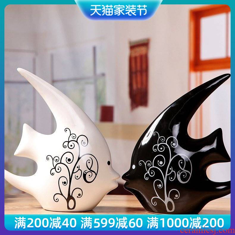 Lovers swallow fish household adornment fashion ceramic crafts furnishings move furnishing articles