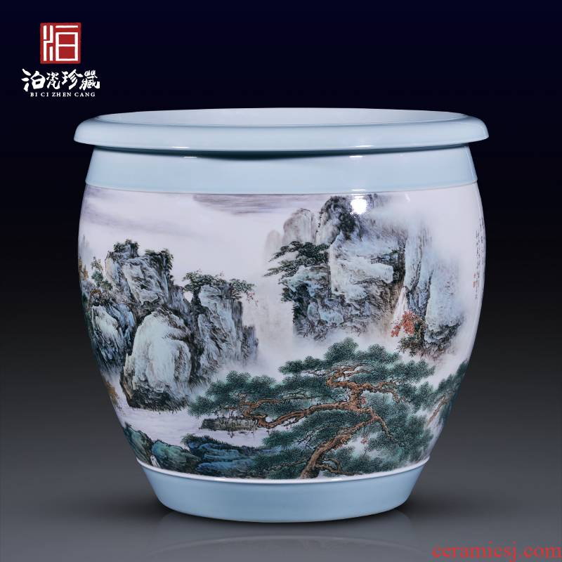 Jingdezhen ceramic all hand - made chibi to meditate on the new Chinese style household geomantic VAT decoration collection calligraphy and painting cylinder furnishing articles