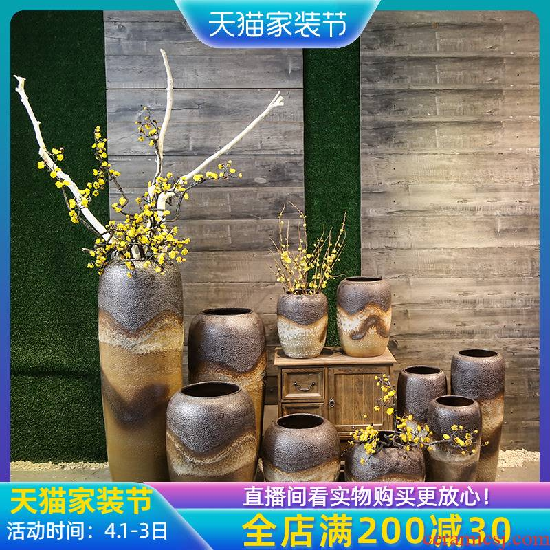 Jingdezhen ceramic coarse pottery dated flower implement mercifully glaze craft flower decoration to the hotel villa floor vase