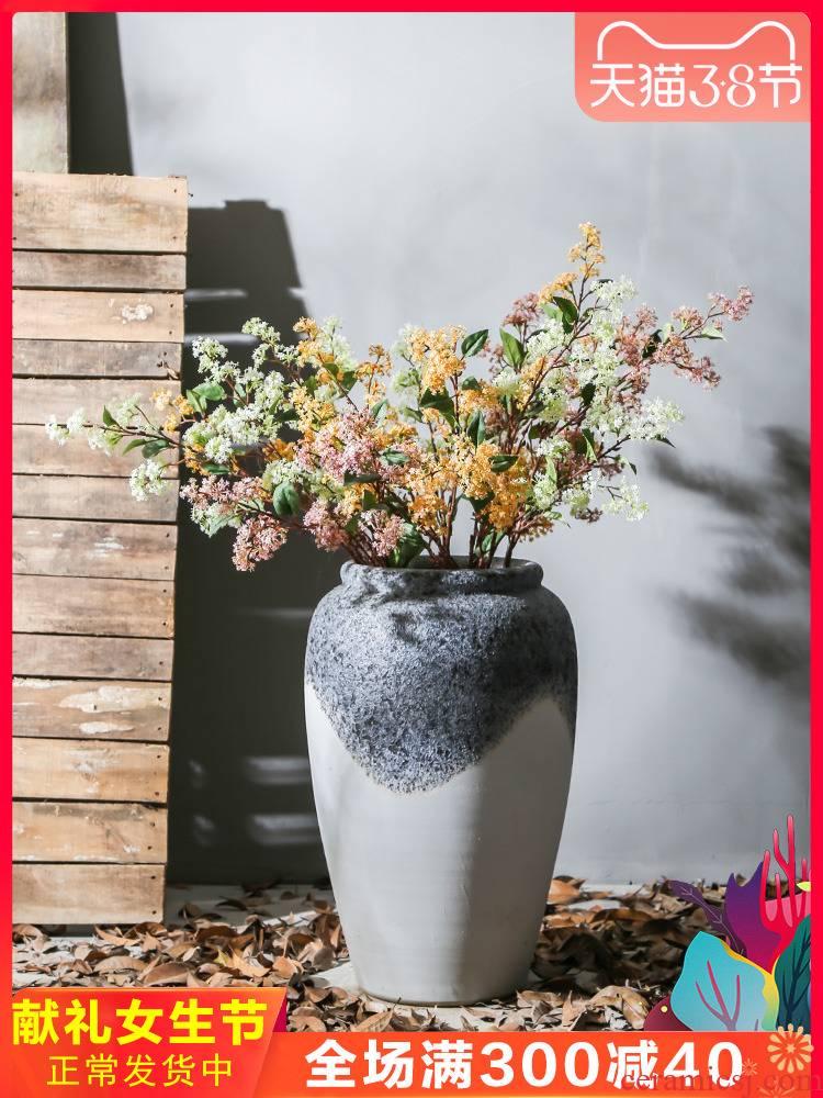 Jingdezhen ceramic big vase furnishing articles store decoration flower arranging landing coffee shop decoration coarse pottery