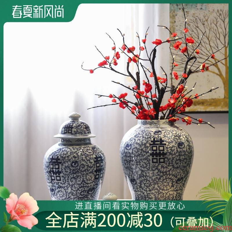 Jingdezhen general idea can of vases, flower implement of new Chinese style decoration in the sitting room porch decorate ceramic flower big furnishing articles