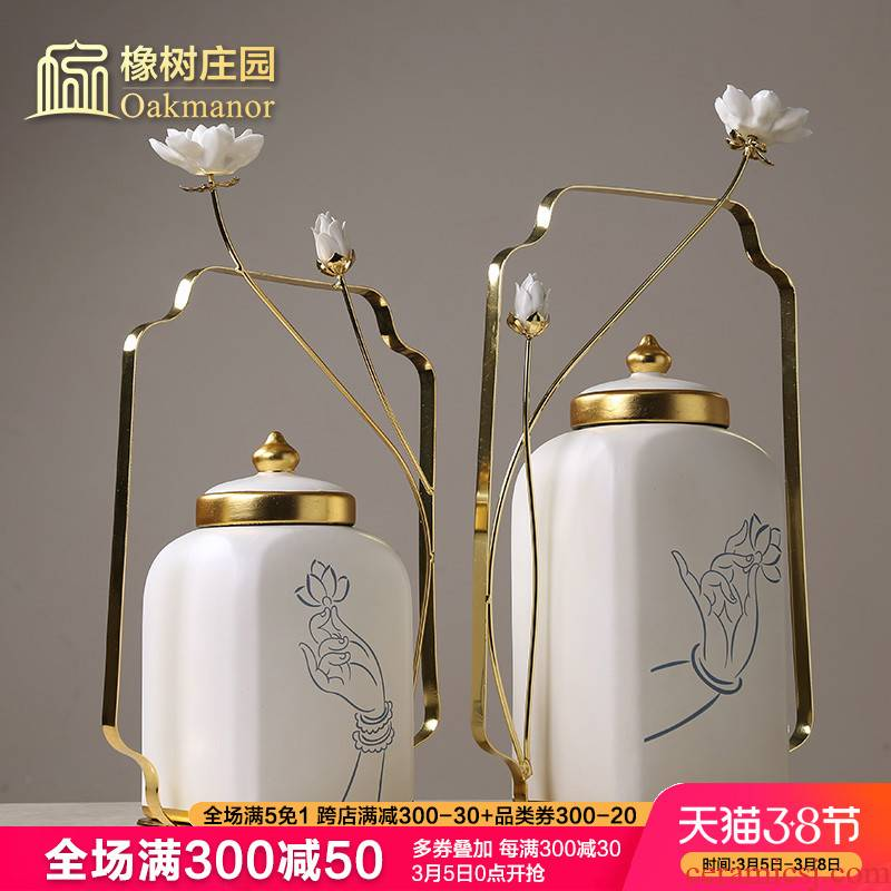New Chinese style creative ceramic storage tank furnishing articles with cover of TV ark, general candy jar jar to the sitting room porch decoration