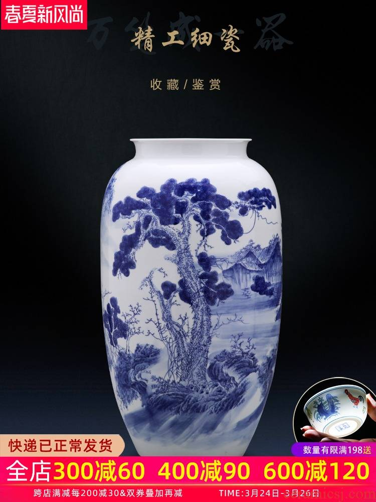 Jingdezhen ceramics of large vase large - sized hand - made of blue and white porcelain bottle arranging flowers sitting room household act the role ofing is tasted furnishing articles