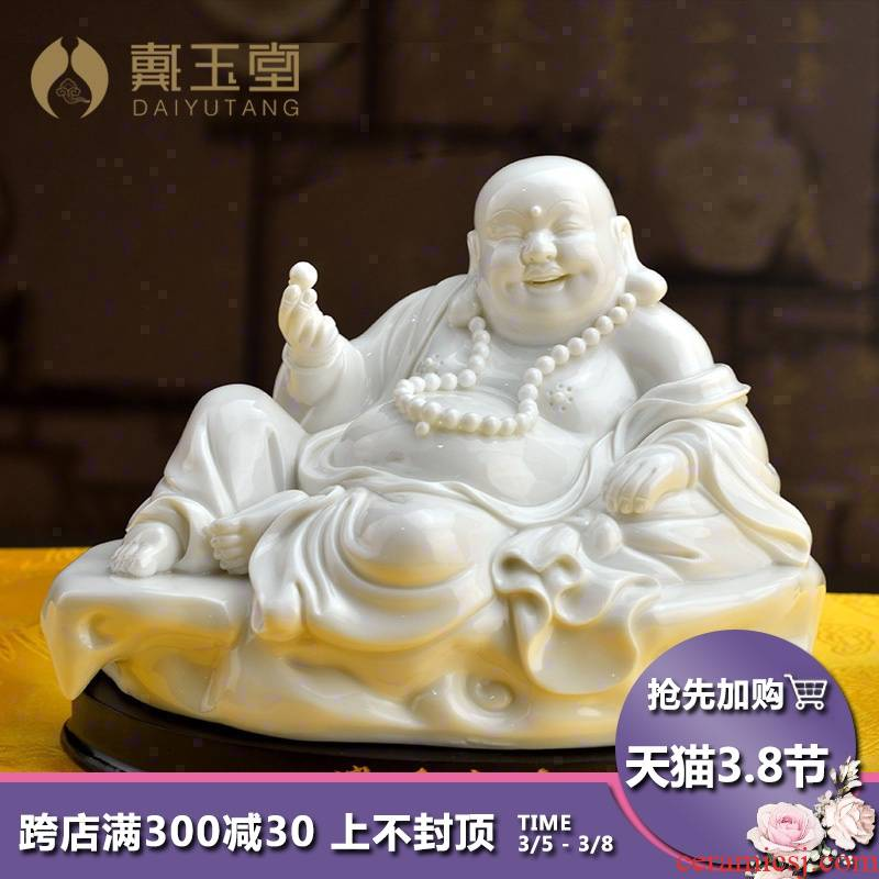 Yutang dai dehua white porcelain maitreya Buddha furnishing articles smiling Buddha maitreya pot - bellied ceramic crafts opening gifts away