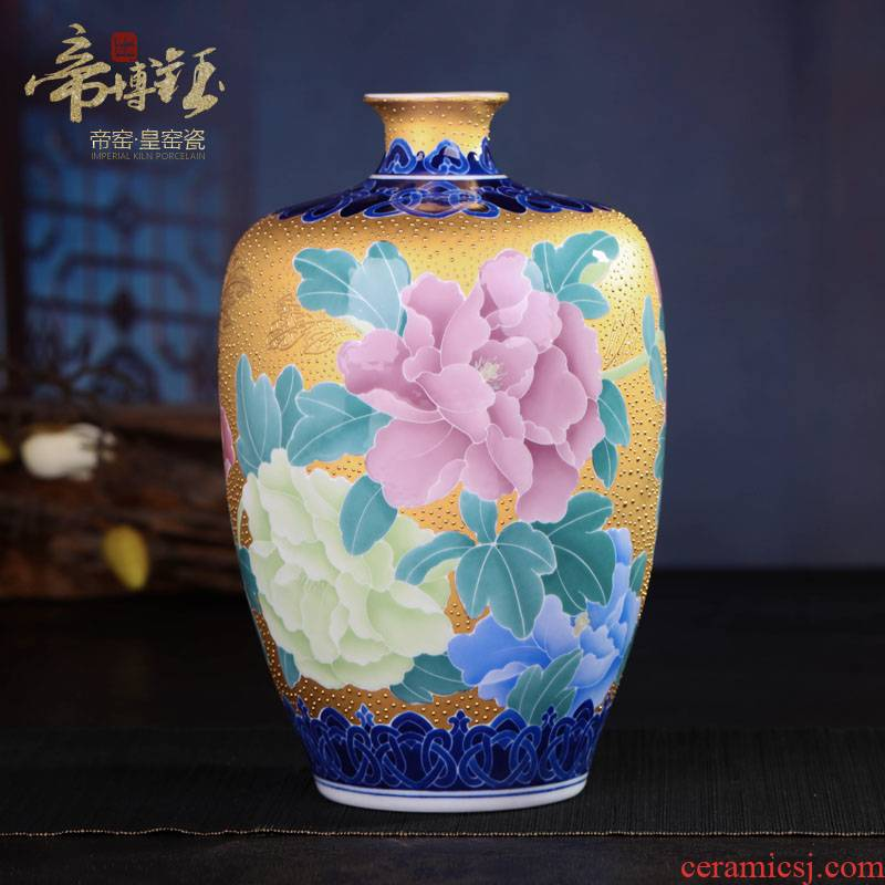 Jingdezhen ceramic glaze under wucai with apricot twist bottle anaglyph heap gold peony vases, sitting room adornment is placed