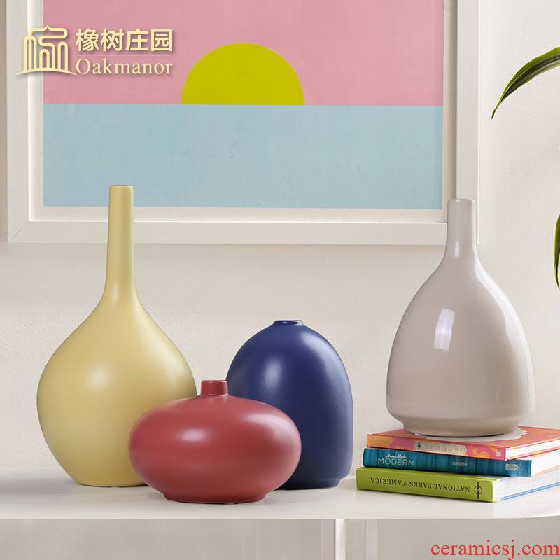 Nordic morandi ceramic marca dragon vase household living room table flower arranging place small pure and fresh and dry flower decoration