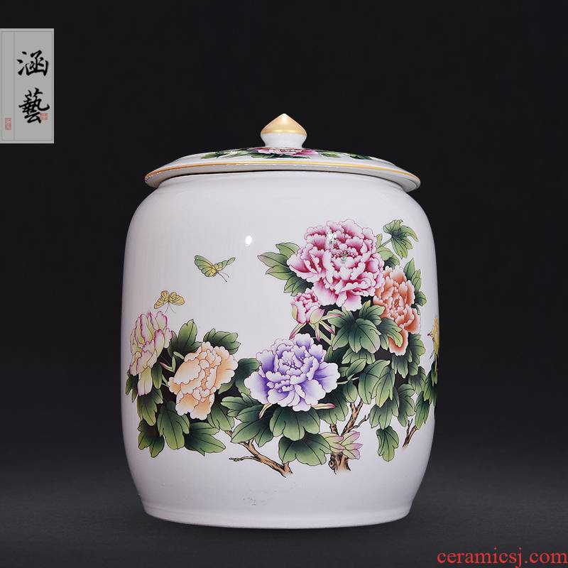 Jingdezhen ceramic famille rose very beautiful caddy fixings sitting room porch Chinese style household adornment furnishing articles craft gift
