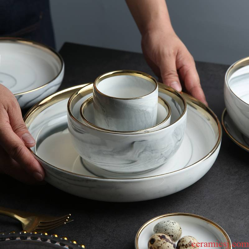 Mystery of northern wind up phnom penh marble ceramic tableware plate deep dish dish dish bowl soup bowl rainbow such use