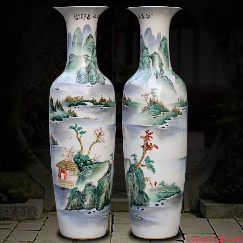 Jingdezhen ceramics powder enamel handpainted has a long history of large vases, sitting room adornment opening gifts big furnishing articles