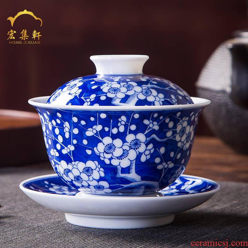 Ancient bowl tureen large jingdezhen ceramic cups three only blue and white ice bowl hand - made mei tureen kung fu