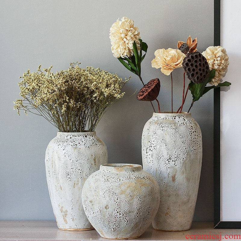I and contracted dry flower ceramic flower vases ins furnishing articles to restore ancient ways small pure and fresh and decorative white thick clay POTS