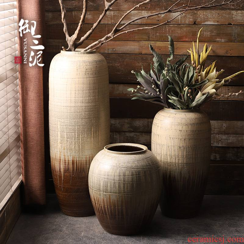 Retro modern landing big vases, ceramic flower pot courtyard garden pottery cylinder flower arranging contracted sitting room furnishing articles