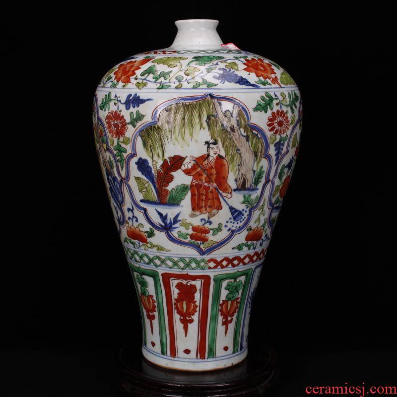 Stories of jingdezhen RMB imitation antique antique checking out colorful name plum bottle after Chinese ancient ceramic furnishing articles