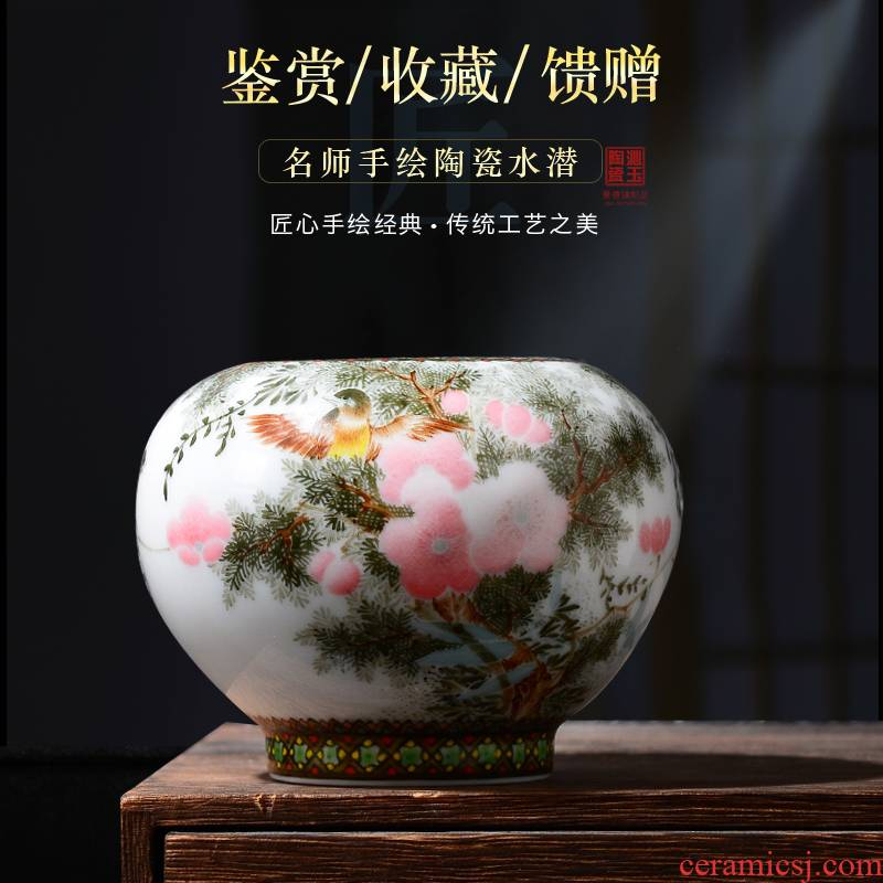 Jingdezhen ceramic vases, sitting room hand shallow archaize ceramic office furnishing articles furnishing articles four treasures of calligraphy