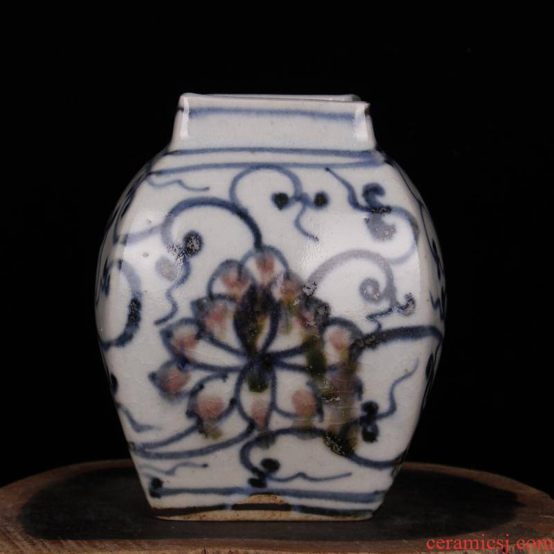 Archaize of jingdezhen blue and white porcelain square canister antique reproduction antique collecting old items furnishing articles do old people