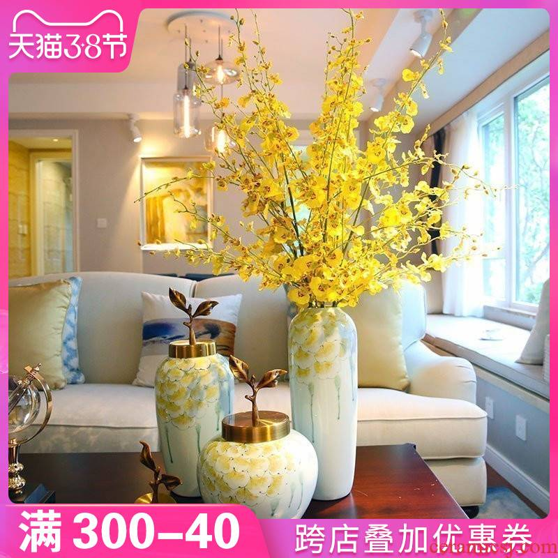 Europe type TV ark, adornment of new Chinese style ceramic vase furnishing articles dried flowers flower arrangement sitting room porch ark, desktop decoration