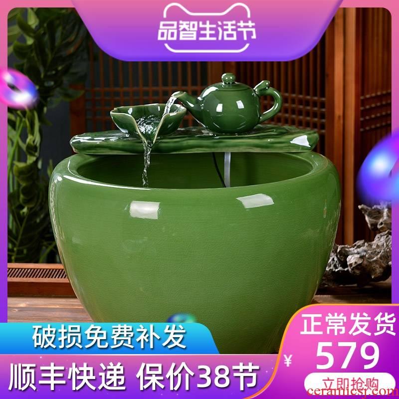 Jingdezhen ceramic fish tank is big sitting room ground indoor and is suing koi fish tank automatic flow aerobic aquarium
