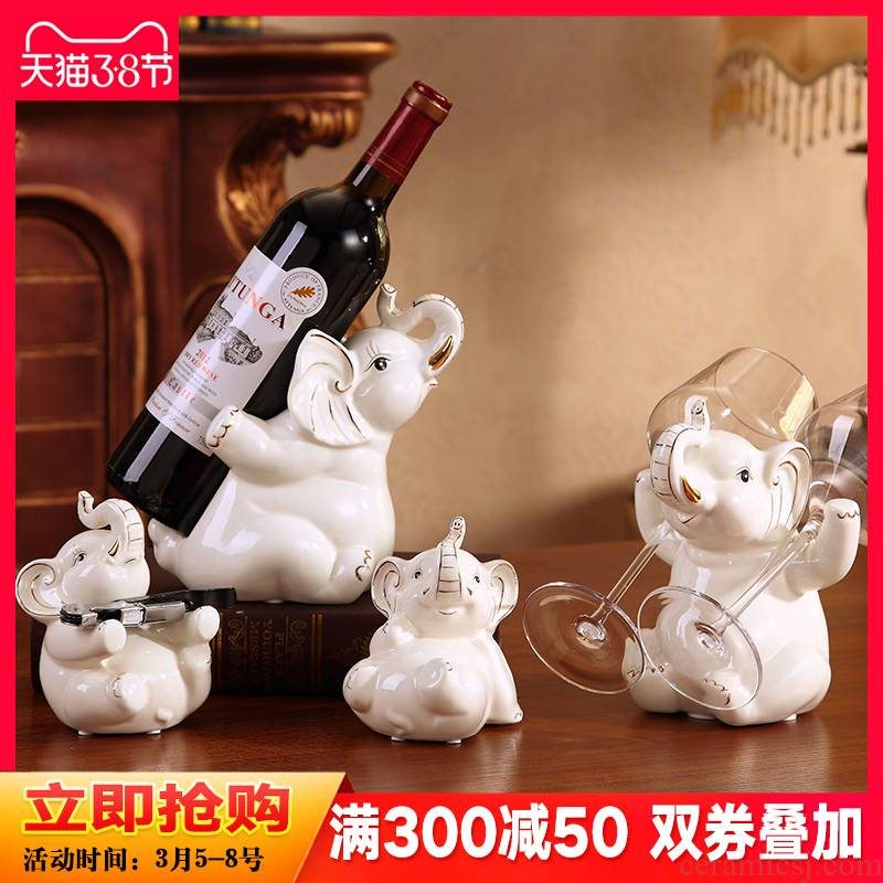 Creative wine accessories European - style wine rack furnishing articles modern contracted household ceramics lucky elephant sitting room decoration