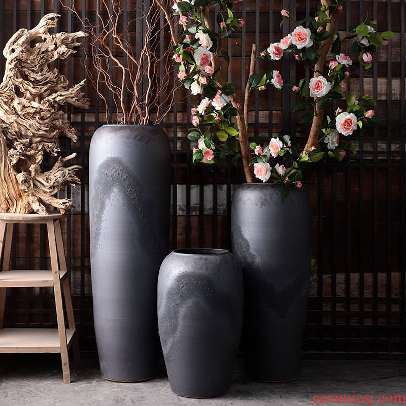 Retro POTS dry flower vases, flower arrangement sitting room adornment is placed I and contracted courtyard large - diameter pot cylinder