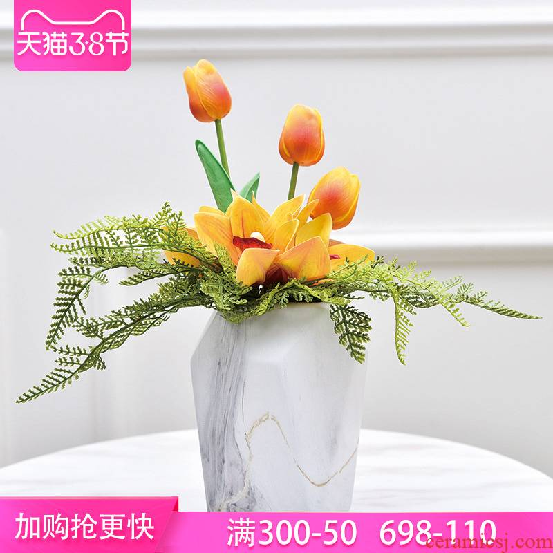 Simple light key-2 luxury living room flower vase furnishing articles continental table desk creative porcelain porcelain ceramic simulation flowers