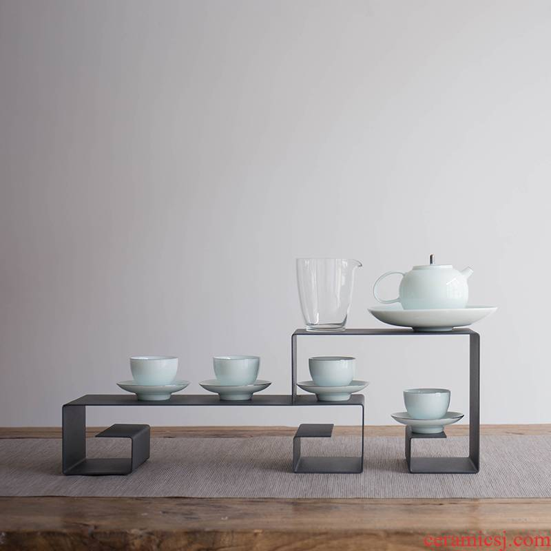 Public remit suet jade ceramic paint kung fu tea set shadow celadon pot group, the home of a complete set of gift boxes