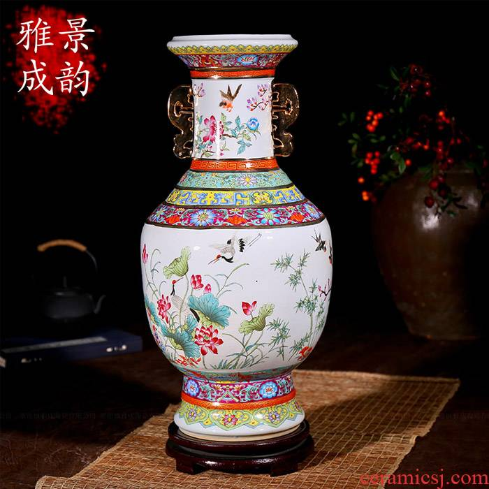 Jingdezhen ceramic antique vase of flowers and birds ears up fashion furnishing articles housewarming flower arranging landing crafts sitting room